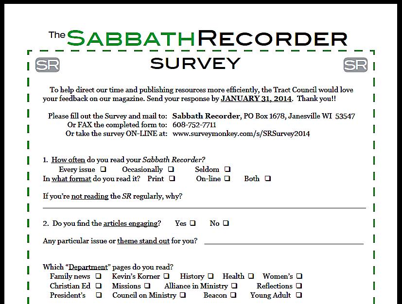 SR survey screen shot